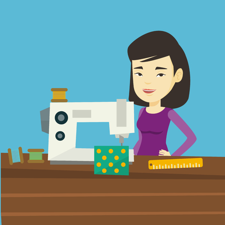 Asian seamstress working in a cloth factory. Young seamstress sewing on an industrial sewing machine. Seamstress using sewing machine at workshop. Vector flat design illustration. Square layout. Illustration