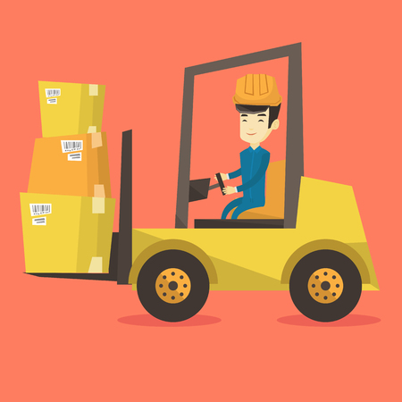 Asian warehouse worker loading cardboard boxes. Forklift driver at work in storehouse. Warehouse worker in hard hat driving forklift at warehouse. Vector flat design illustration. Square layout.