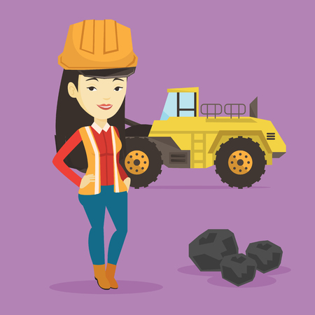 Asian smiling female miner in hard hat standing on the background of a big excavator. Confident miner in helmet with crossed arms standing near coal. Vector flat design illustration. Square layout.
