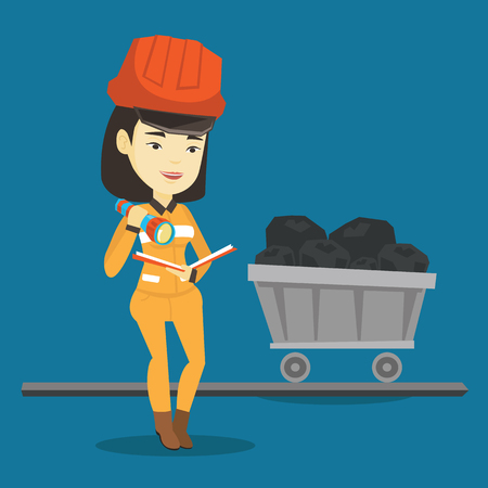 Asian miner checking documents with the flashlight on the background of trolley with coal. Mine worker in hard hat. Miner working in the coal mine. Vector flat design illustration. Square layout.