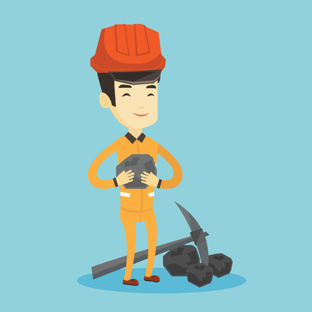 Asian male miner in hard hat holding coal in hands. Young smiling miner with a pickaxe. Miner working at coal mine. Young happy male miner at work. Vector flat design illustration. Square layout.