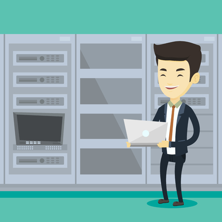 Asian engineer with laptop working in network server room. Engineer standing in network server room. Network engineer using laptop in server room. Vector flat design illustration. Square layout.