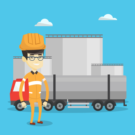 Refinery worker of oil and gas industry. Young worker standing on the background of fuel truck and oil refinery plant. Man working at refinery plant. Vector flat design illustration. Square layout. Illustration