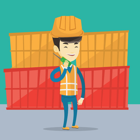 docker: Asian port worker in hard hat talking on wireless radio. Port worker standing on cargo containers background. Smiling port worker using wireless radio. Vector flat design illustration. Square layout.