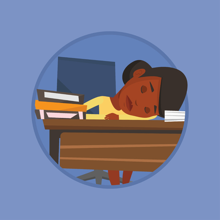 sleeper: Female student sleeping at the desk with book.