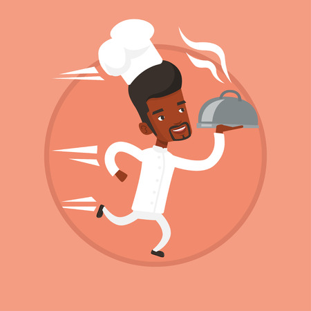 serving tray: Chef running with cloche vector illustration.