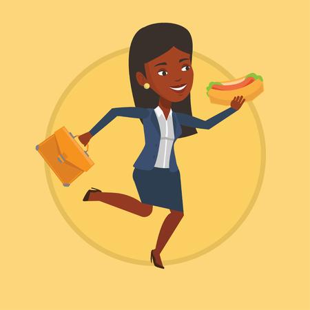 Business woman eating hot dog vector illustration.