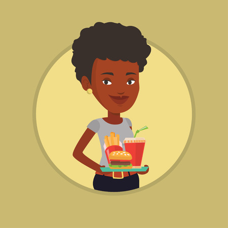 french ethnicity: Woman holding tray full of fast food. Illustration