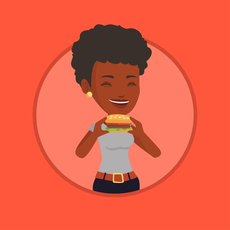 Woman eating hamburger vector illustration. Illustration