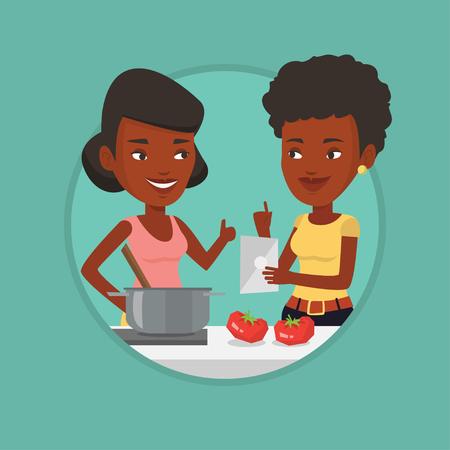 pareja comiendo: Mujeres que cocinan comida de verduras saludables.