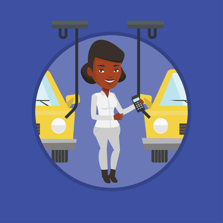 Worker controlling automated assembly line for car Illustration