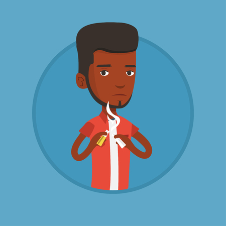 Young man quitting smoking vector illustration.