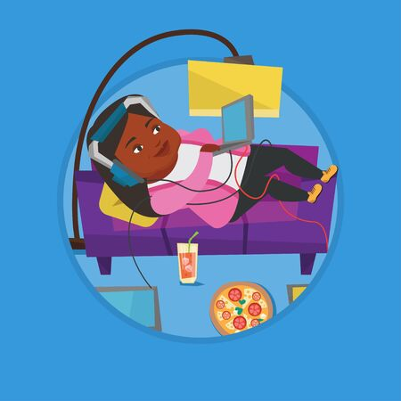 Woman lying on sofa with many gadgets. Illustration