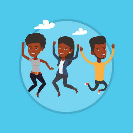 Group of joyful young friends jumping. Illustration