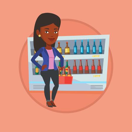 mujer en el supermercado: Woman with pack of beer at supermarket.