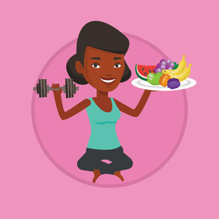 Healthy woman with fruits and dumbbell.