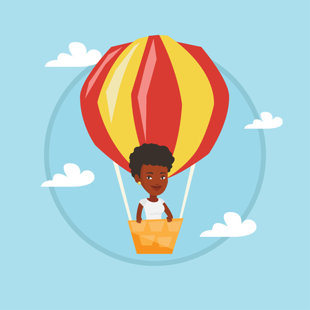 Young woman flying in hot air balloon. Illustration