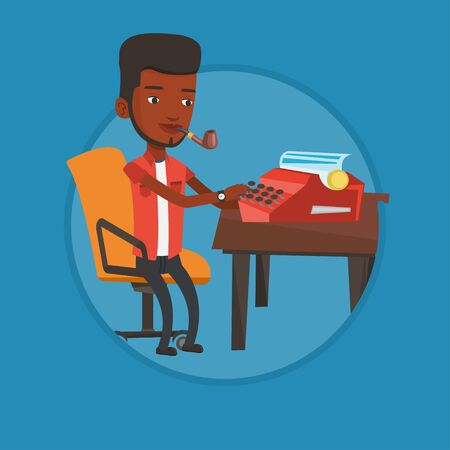 Journalist writing an article on a vintage typewriter. Journalist working on retro typewriter. Young journalist smoking pipe. Vector flat design illustration in the circle isolated on background. Illustration