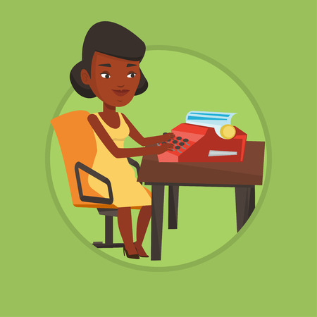 article writing: Young african-american journalist writing an article on a vintage typewriter. Concentrated journalist working on retro typewriter. Vector flat design illustration in the circle isolated on background. Illustration