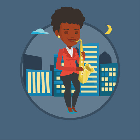 african sax: Musician playing on saxophone vector illustration.