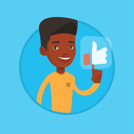 Man pressing like button vector illustration.