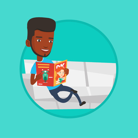 Man reading magazine on sofa vector illustration. Illustration