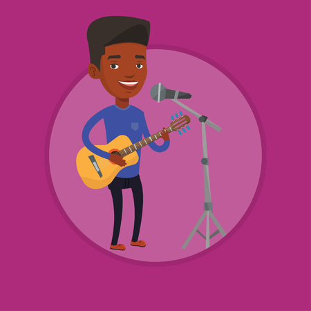 Man singing in microphone and playing guitar. Illustration