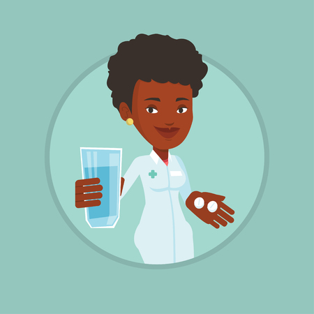 African-american pharmacist holding a glass of water and pills in hands.