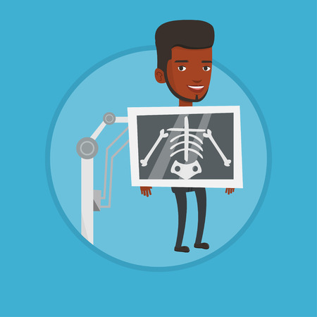 radiogram: Patient during x ray procedure vector illustration