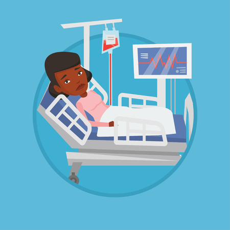 woman lying in bed: Woman lying in hospital bed vector illustration.