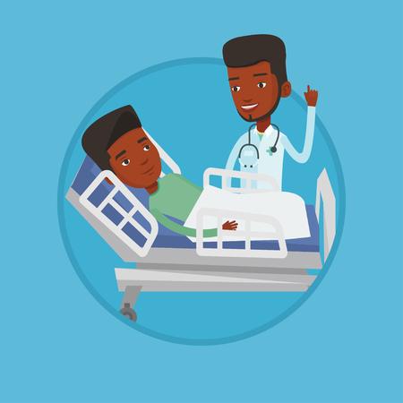 Doctor visiting patient vector illustration. 向量圖像