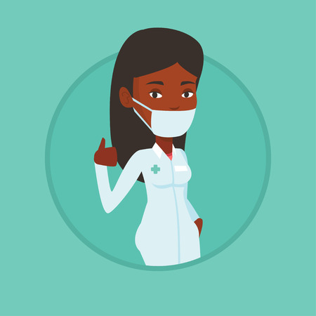 African-american doctor in mask giving thumbs up. Doctor in medical gown showing thumbs up gesture. Doctor with gesture thumb up. Vector flat design illustration in the circle isolated on background.