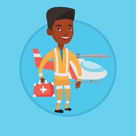 Doctor of air ambulance vector illustration. Illustration