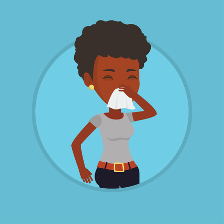 influenza: Young african-american sick woman sneezing. Illustration