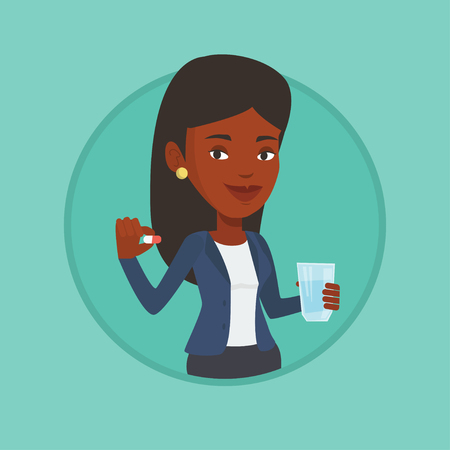 Young african-american woman taking pills. Stock Illustratie