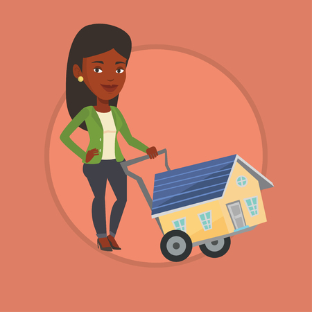 pushcart: Young woman buying house vector illustration.