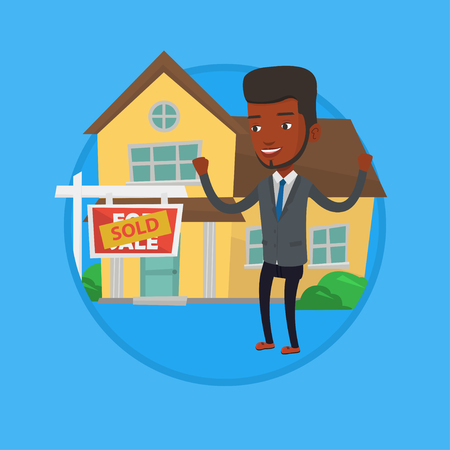 signing agent: Real estate agent signing contract. Illustration