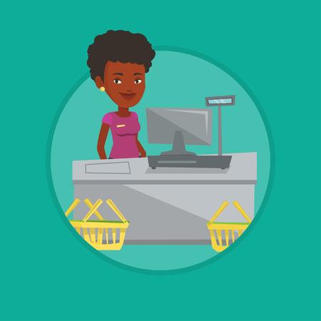 mujer en el supermercado: Cashier standing at the checkout in supermarket. Vectores