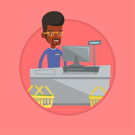 Cashier standing at the checkout in supermarket. Illustration