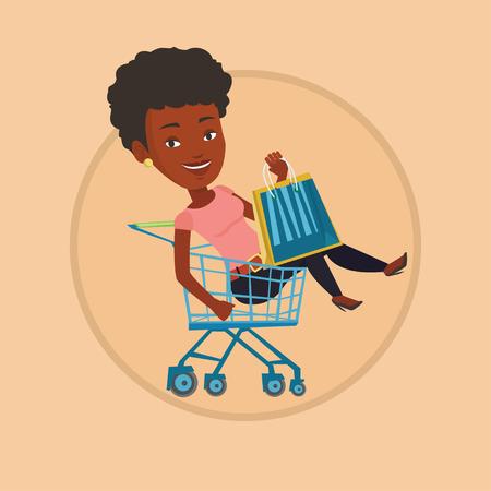 mujer en el supermercado: Montar a caballo feliz de la mujer por la carretilla de las compras. Vectores