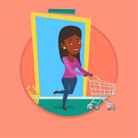 Customer running into the shop with trolley. Illustration