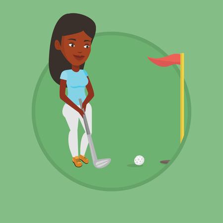 ボールを打つゴルファーはベクトル イラストです。  イラスト・ベクター素材