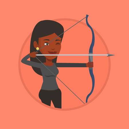 Archer training with the bow vector illustration. 矢量图像