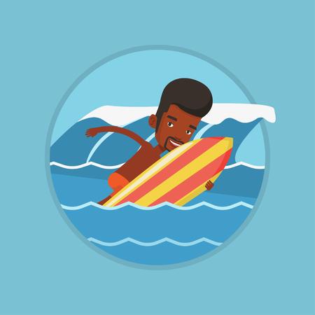 Glücklicher Surfer in Aktion auf einem Surfbrett.