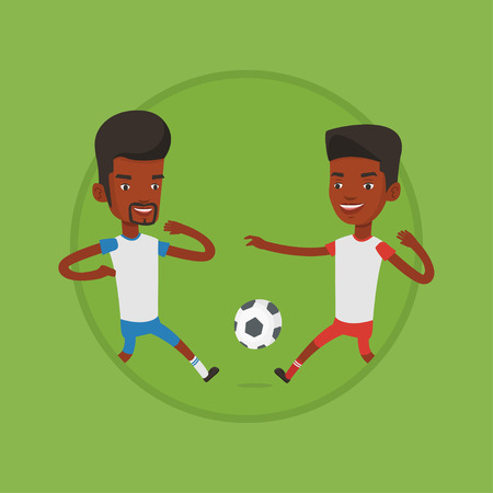 Two male soccer players fighting for ball. Ilustracja