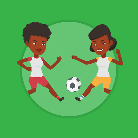 soccer field: Two female soccer players fighting for ball. Illustration