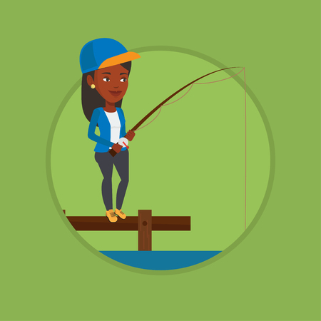 Woman fishing on jetty vector illustration. Illustration