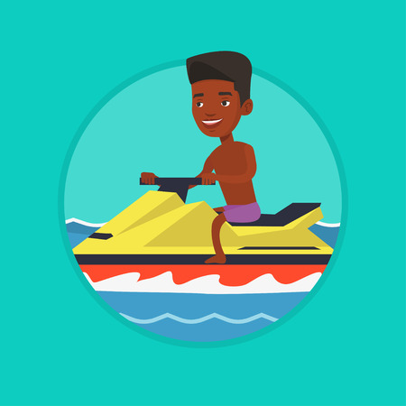 African man training on jet ski in the sea.