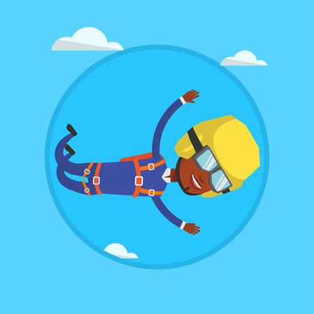 African parachutist jumping with parachute.