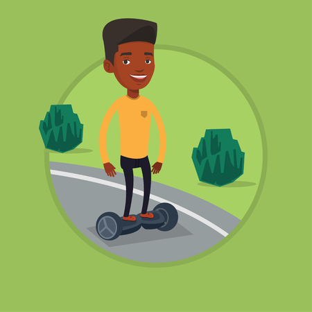 Man riding on self-balancing electric scooter. Illustration